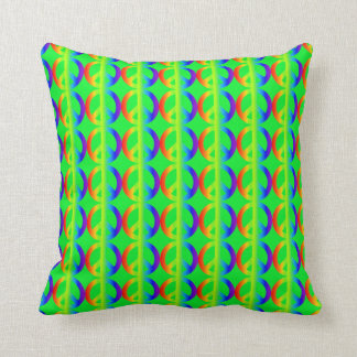 Rainbow Peace Sign Pattern on Bright Green Throw Pillow
