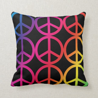 Rainbow Peace Sign Throw Pillow