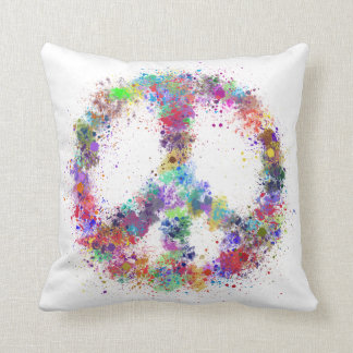 Rainbow Peace Sign | Watercolor Splatter Throw Pillow