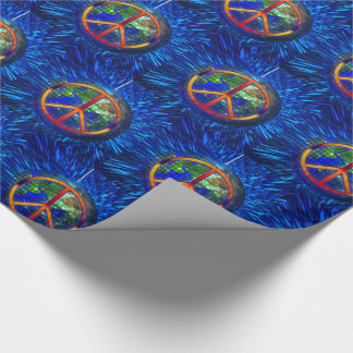 Rainbow Peace Sign World Globe Hippie Style Wrapping Paper