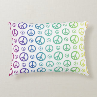 Rainbow Peace Signs Decorative Pillow