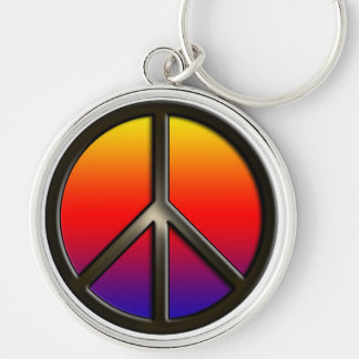 Rainbow Peace Silver-Colored Round Keychain