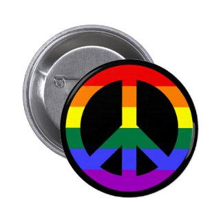 Rainbow Peace Symbol Pinback Button