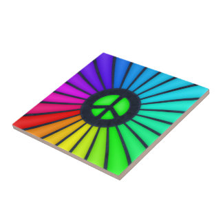 Rainbow Peace Symbol Ceramic Tile