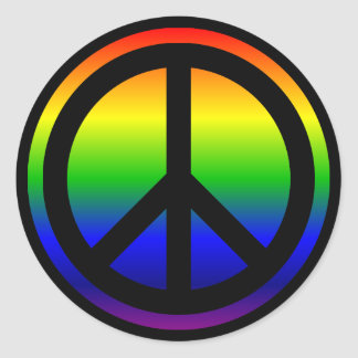 Rainbow Peace Symbol Classic Round Sticker