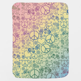 Rainbow Peace Symbol Design Pattern Baby Blanket