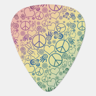 Rainbow Peace Symbol Design Pattern Guitar Pick