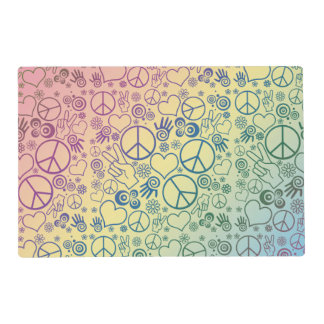 Rainbow Peace Symbol Design Pattern Laminated Placemat
