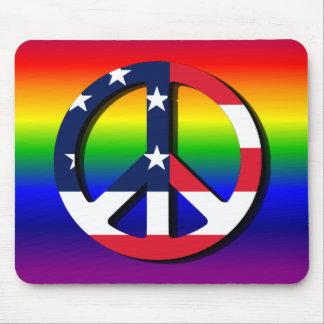 Rainbow Peace Symbol Mouse Pad