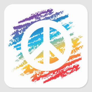 Rainbow Peace Symbol Square Sticker