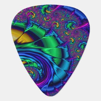 Rainbow Peacock Coloured Fractal Art Swirl Guitar Pick
