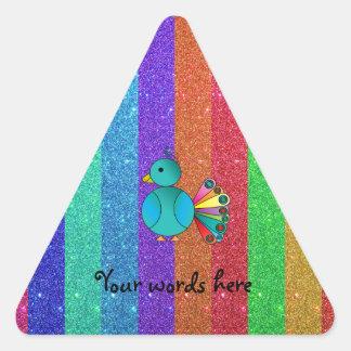 Rainbow peacock rainbow glitter triangle sticker