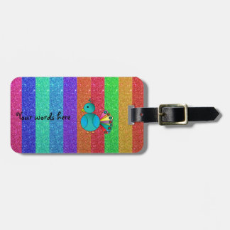 Rainbow peacock rainbow glitter stripes luggage tag