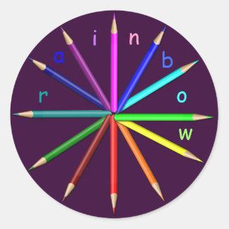 rainbow pencils round sticker