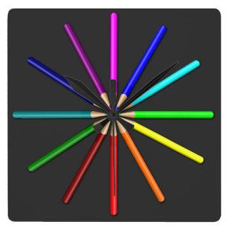 rainbow pencils wall clock