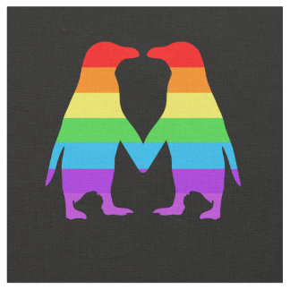Rainbow penguins holding hands fabric
