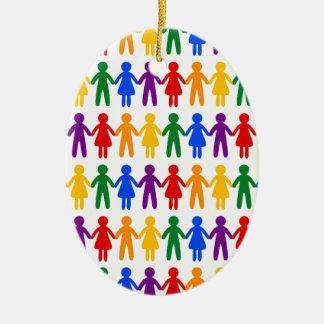 Rainbow People Pattern Ceramic Oval Ornament