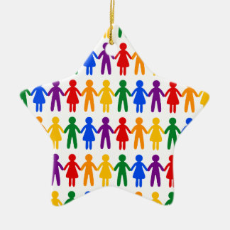 Rainbow People Pattern Ceramic Star Ornament