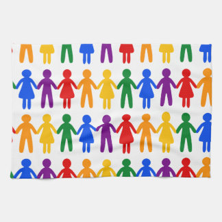 Rainbow People Pattern Kitchen Towel