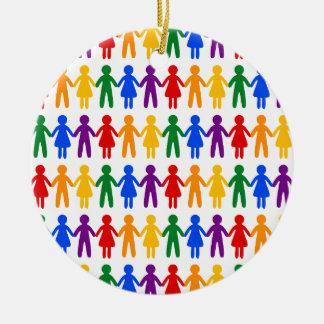 Rainbow People Pattern Round Ceramic Ornament