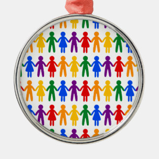 Rainbow People Pattern Silver-Colored Round Ornament