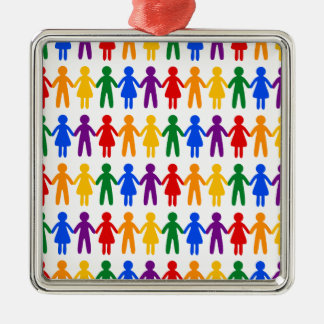 Rainbow People Pattern Silver-Colored Square Ornament