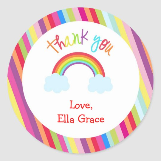 Rainbow Personalized Thank You Favour Stickers