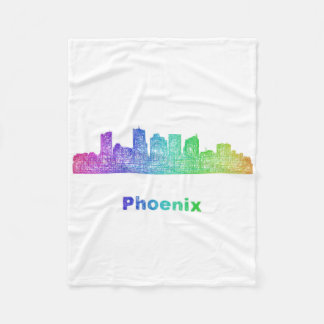 Rainbow Phoenix skyline Fleece Blanket