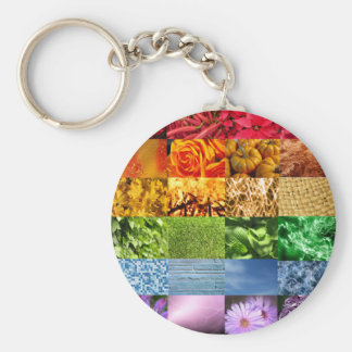 Rainbow Photo Collage Basic Round Button Keychain