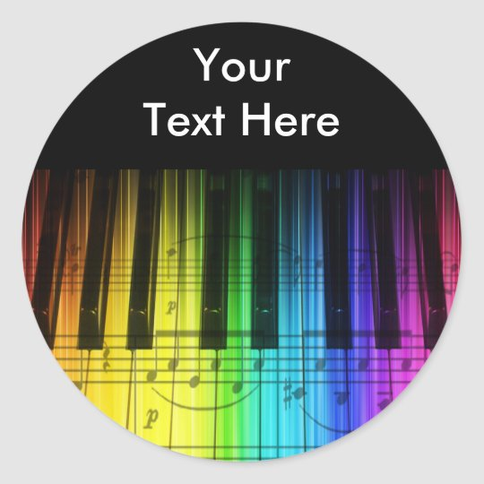 Rainbow Piano Keyboard and Notes Classic Round Sticker