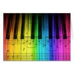 Rainbow Piano Keyboard and Notes Greeting Card