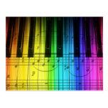 Rainbow Piano Keyboard and Notes Postcard