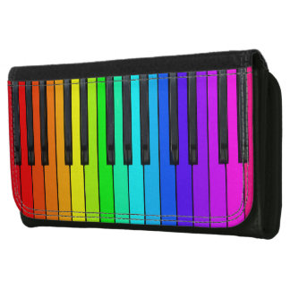 Rainbow Piano Keyboard Leather Wallet
