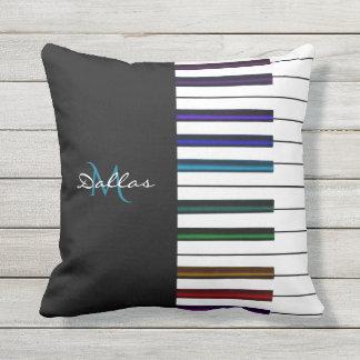 Rainbow Piano Keyboard Monogram Music Throw Pillow