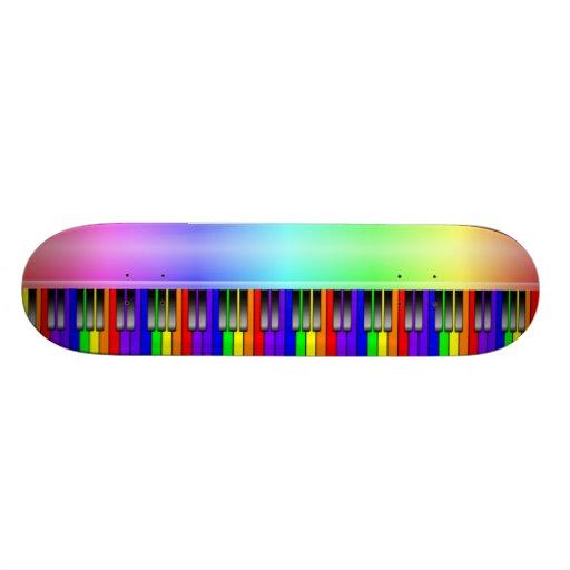 Rainbow Piano Keyboard Custom Skateboard