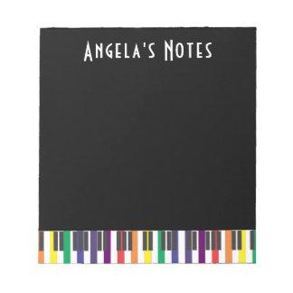 Rainbow Piano Keys (dark) Notepad