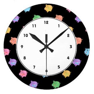 Rainbow Pig Pattern on black Clocks