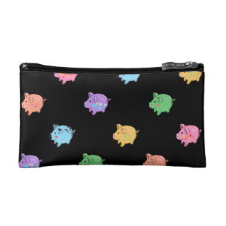 Rainbow Pig Pattern on black Cosmetic Bag