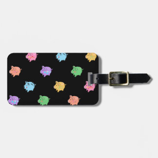 Rainbow Pig Pattern on black Luggage Tag
