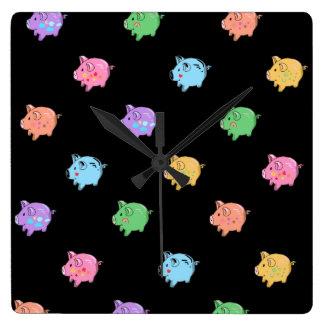 Rainbow Pig Pattern on black Wall Clock