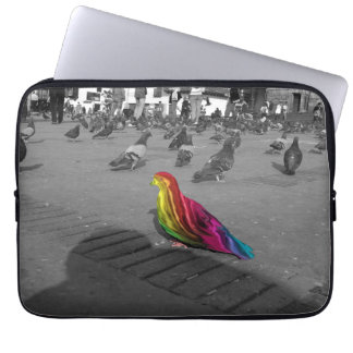 Rainbow pigeon laptop sleeve