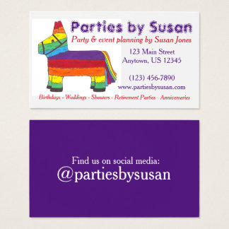 Rainbow Piñata Party Event Planner Planning Business Card
