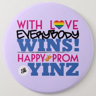 Rainbow Pink Prom Yinz Mega Button Pin