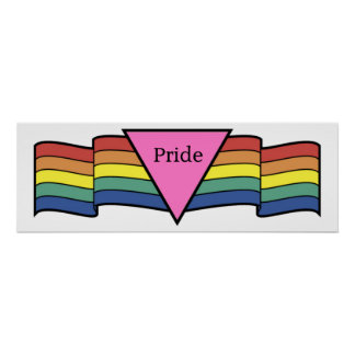 Rainbow Pink Triangle Gay Pride Banner Poster