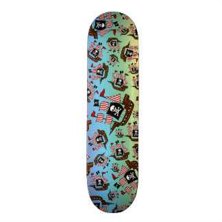 Rainbow pirate ship pattern custom skateboard