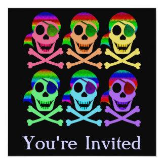 Rainbow Pirate Skulls Invitations