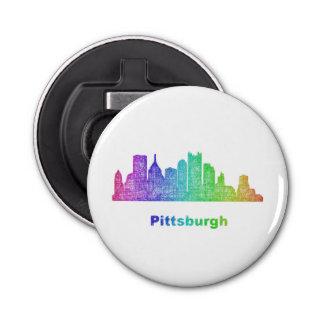 Rainbow Pittsburgh skyline Button Bottle Opener