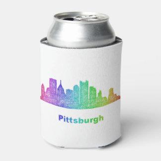 Rainbow Pittsburgh skyline Can Cooler