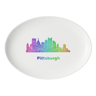 Rainbow Pittsburgh skyline Porcelain Serving Platter