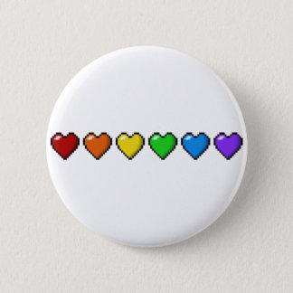 Rainbow Pixel Hearts 2 Inch Round Button
